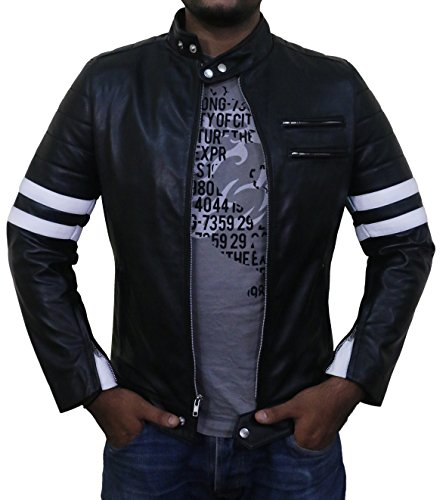 Laverapelle Men's Black-White Genuine Lambskin Leather Jacket - 1501535-3XL