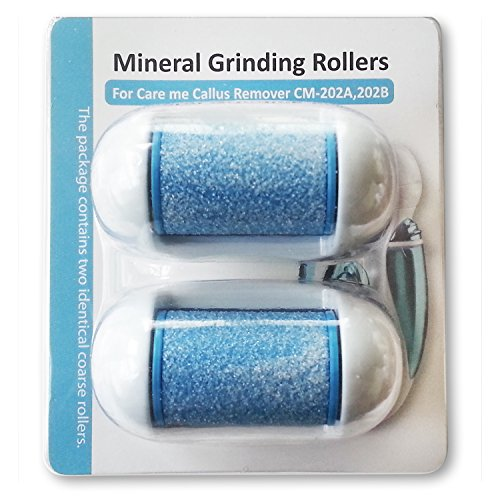 Replacement Rollers for Care me Rechargeable Callus Remover (Model# 202) - Effectively Removes Hard and Cracked Skin and Calluses on Feet - a Pack of 2 (Blue)