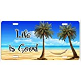Life Is Good Tropical Beach Scene Palm trees and hammock personalized novelty front license plate Decorative Vanity car tag can also be used as a door sign