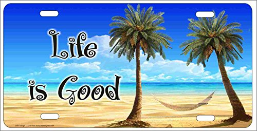ATD Design Life Is Good Tropical Beach Scene Palm trees and hammock personalized novelty front license plate Decorative Vanity car tag can also be used as a door sign (License Personalized Front Plates)