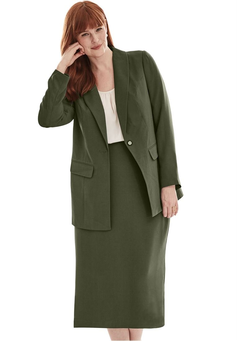 Jessica London Plus Size 2-Piece Single-Breasted Skirt Suit in Polyester Crepe (Dark Olive by Bargain Catalog Outlet