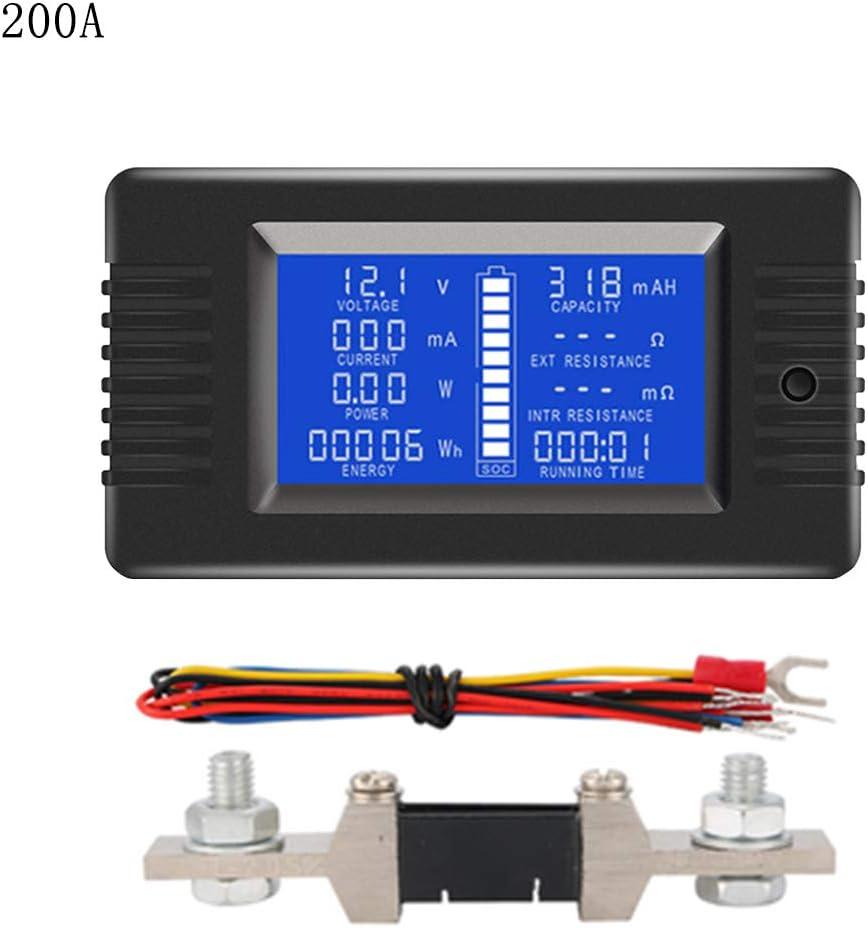 Meiqqm DC 0-200V 0-300A - Medidor de batería con voltímetro y Potencia de impedancia (medidor de Tiempo de energía 50A/100A/200A/300A) 50 * 90 * 25mm 200A Shunt