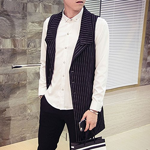 Slim Vest 5XL XXXL Zhhlaixing Cómodo Long XXL 4XL Fit Suit Sleeveless Waistcoat Mens Black Size aYx0qwxC1