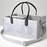 Large Multipurpose Baby Diaper Caddy Basket Organizer with Adjustable Shoulder Straps Leather Handles and Fabric Dividers - Perfect for Travel or Everyday Changing Needs