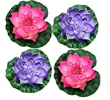Raan Pah Muang 4 Pcs Large Artificial Floating Foam Lotus Flower Pond Decor Water Lily, Pink and Violet