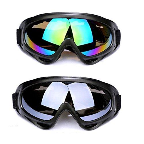 Motorcycle Goggles, 2 Pack Dirt Bike Goggles UV Protective Outdoor Glasses Adjustable Dustproof Windproof Anti-Glare Black Multicolor Lens Sunglasses Cycling Goggles Outdoor Tactical Goggles from CHARMGIRL