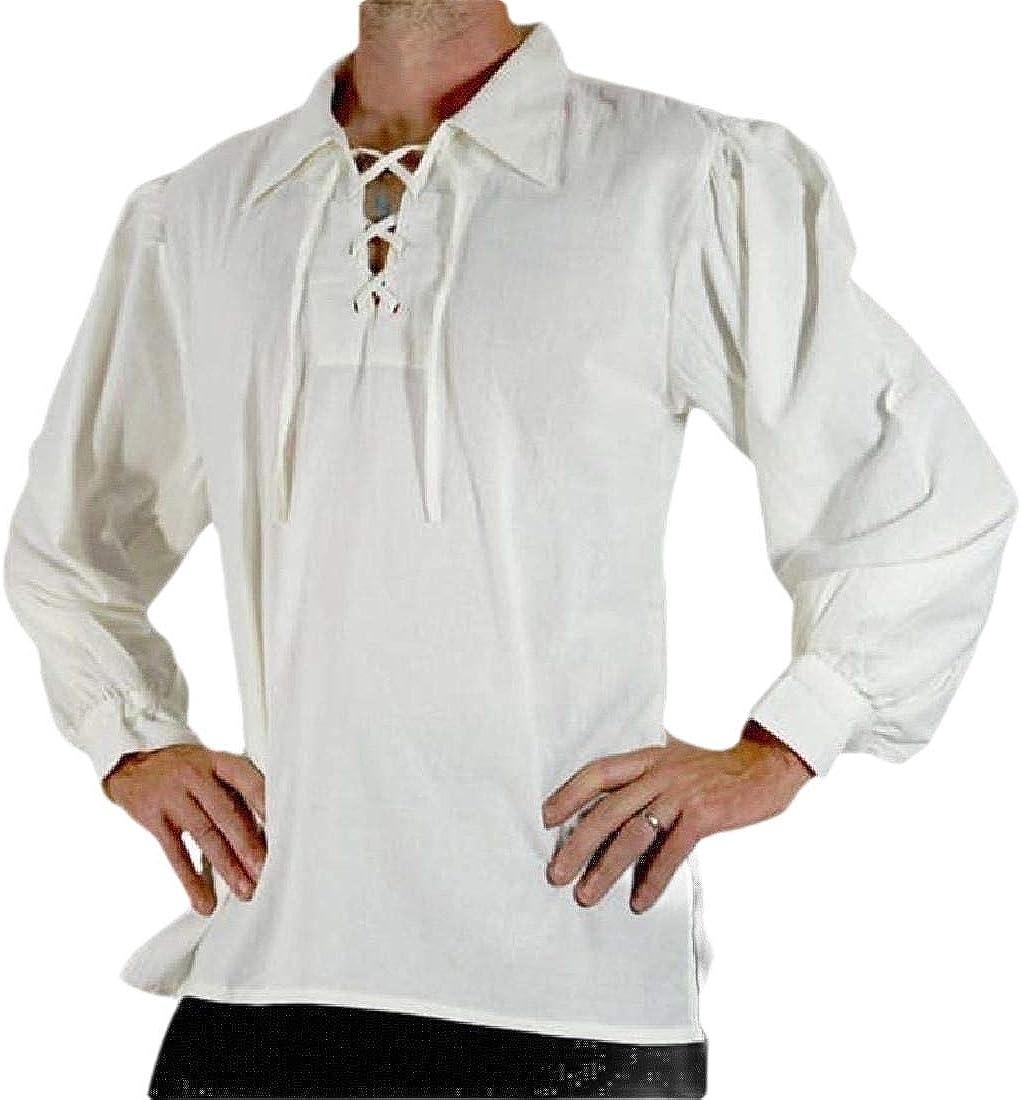 BingSai - Blusa Estilo gótico con Cuello de Solapa Victoriano para Hombre Blanco Blanco XS: Amazon.es: Ropa y accesorios