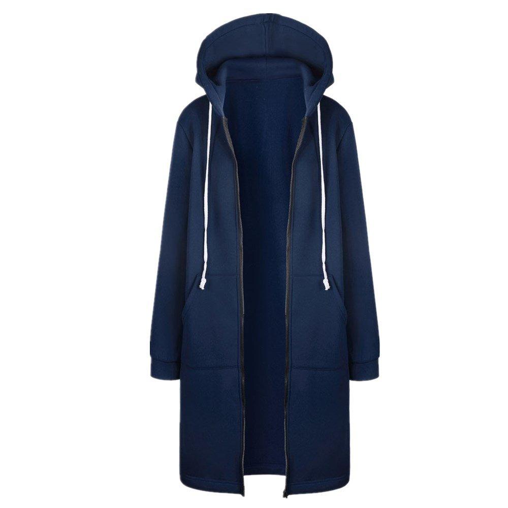 IEason Women Top, Women Warm Zipper Open Hoodies Sweatshirt Long Coat Jacket Tops Outwear (Blue, M)