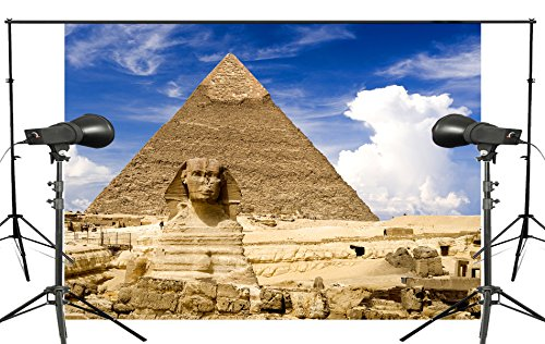 LYLY COUNTY 5×7 FT Majestic Pyramids Backdrop Sphinx Egyptian Ancient Architecture Photography Background Studio Props Wall Background Room Mural PB926 - Egyptian Party Decorations