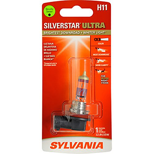 SYLVANIA - H11 SilverStar Ultra - High Performance Halogen Headlight Bulb, High Beam, Low Beam and Fog Replacement Bulb, Brightest Downroad with Whiter Light, Tri-Band Technology (Contains 1 Bulb) (Sylvania Bulb Guide)