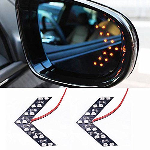 (Rearview mirror turn signal concealed LED turn signal indicator 14SMD LED arrow turn signal-Red)