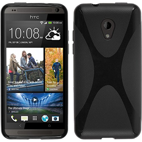 PhoneNatic Silicone Case Compatible with HTC Desire 700 - X-Style Black Cover + Protective foils (Htc Desire 700 Case)