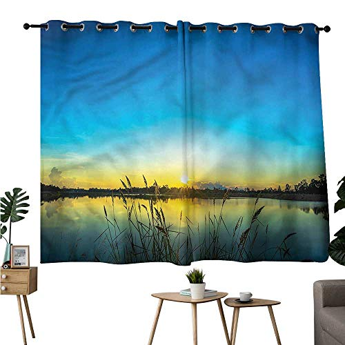 (Alexandear Blackout/Room Darkening Curtains Grommets Curtain Doorway Lake,Serene Sunrise Reed Bed Curtains/Panels/Drapes W84 x)