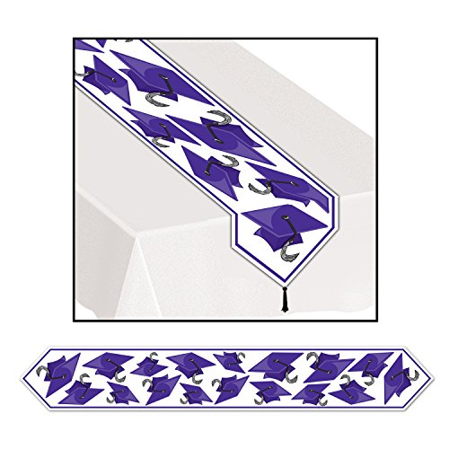 Printed Grad Cap Table Runner (purple) Party Accessory (1 count) (1/Pkg),(6 feet long)]()