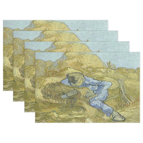 Millet Tray - Blue Viper Van Gogh Painting The Sheaf-Binder After Millet Placemat Heat-resistant Stain Resistant Polyester Fabric Tray Mat for Kitchen Dining Table 12 x 18 inch Set of 1