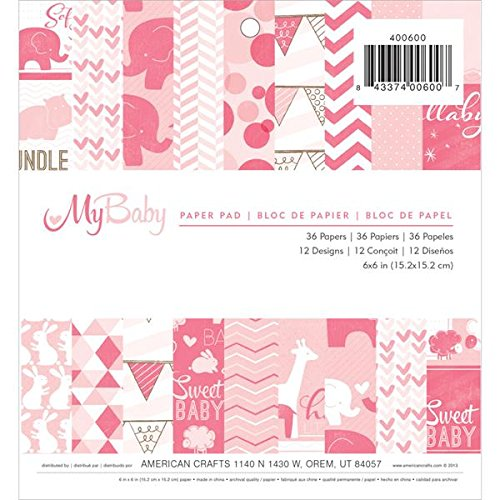 American Crafts 36 Sheets Imaginisce My Baby Paper Pad, 6 by 6-Inch, Girl