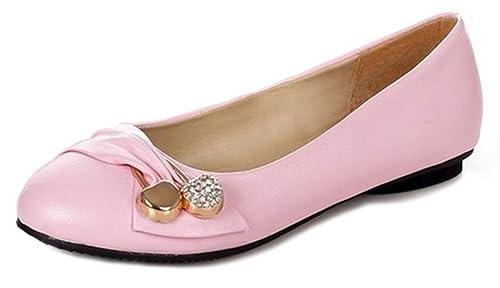 Damen Komfortable Blockiert Runde Kappe Flache Patent Pumps Loafers Slip-on Casual Leder Ballerina Dolly Work Ballettschuhe EU 40 Grün 0a3JZ