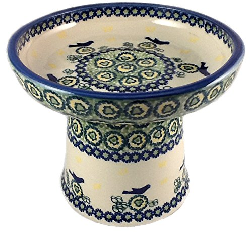 cat-small-dog-raised-wet-food-dish-polish-pottery-unikat-u19-blue-birds