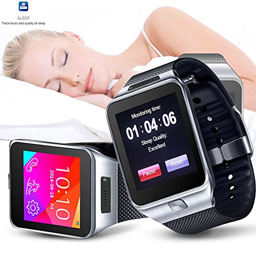 Indigi SWAP2 GSM Bluetooth Watch Cell Phone Touch Screen MP3 Spy Camera Sim Card Slot GSM Unlocked (Silver)