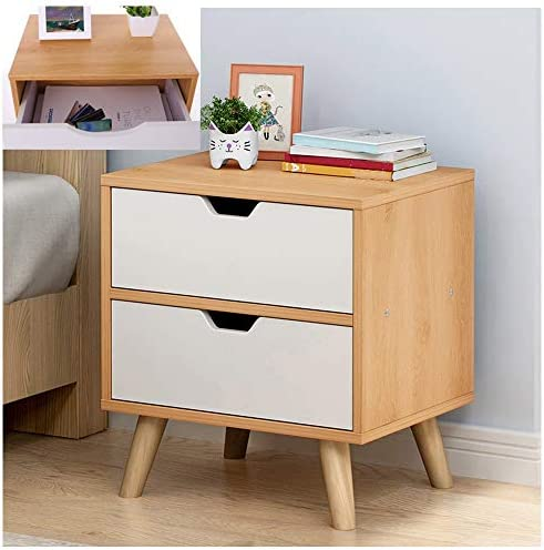 XBYEE Boho Nightstand with Drawers Modern Assemble Storage Cabinet for Small Spaces – Nightstands Bedroom Locker Single Double Drawers Bedside Table Wood Grain-L 2 Drawers