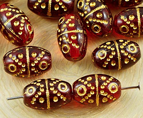 10pcs Crystal Ruby Red Gold Wash Easter Bird Egg Striped Dotted Oval Tube Czech Glass Beads 13mm x 9mm