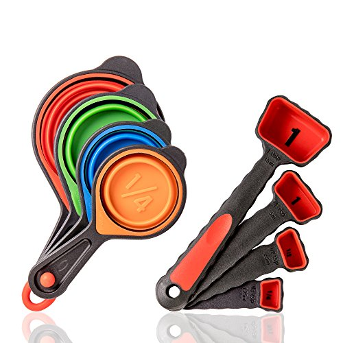 KaraMona Silicone Measuring Cups And Spoons Set, Collapsible Measuring Cups Set & Measuring Spoons Set, Stackable Colorful Baking Utensils, Engraved Measurement Kitchen Tools
