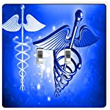 Rikki Knight 8865 Double Toggle Blue Medical Doctor Symbol Design Light Switch Plate