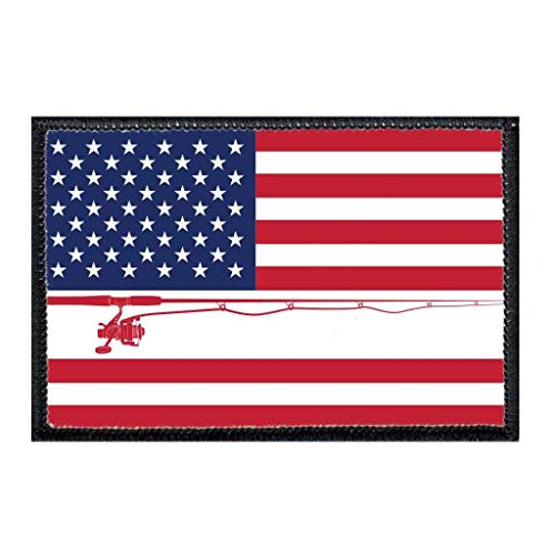 US Flag - Fishing - Color Morale Patch   Hook and Loop Attach for Hats, Jeans, Vest, Coat   2x3 in   by Pull Patch