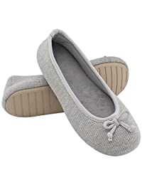 UltraIdeas Women's Comfort Memory Foam Breathable Knitted Terry Lining Washable Ballerina Style Slippers Anti-Skid House Indoor Shoes