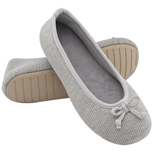 85b864263bea UltraIdeas Women s Comfort Memory Foam Breathable Knitted Terry Lining  Washable Ballerina Slippers Anti-Skid House