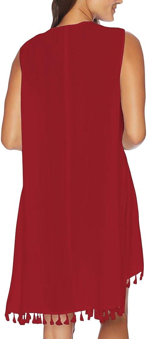 Viottiset Womens Mesh Long Sleeve Tie Front Swimsuit Beach Bikini Cover Up Maxi Dress