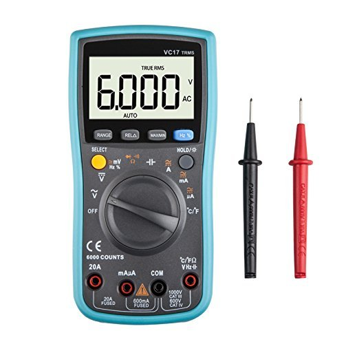 Digital Multimeter, 6000 Counts Autoranging Multimeters with Capacitance/Temperature / AC/DC Current Transistor Test, Electronic Amp Volt Ohm Voltage Meter with Diode and Continuity Test Tester