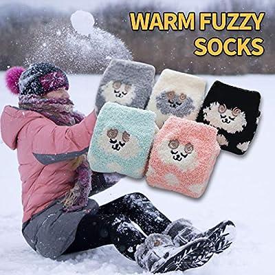 Dosoni Women Girl Fuzzy Slipper Socks-Super Soft Comfort Thick Warm Microfiber Home Socks 5 Pack Animal Sheeps at Women's Clothing store