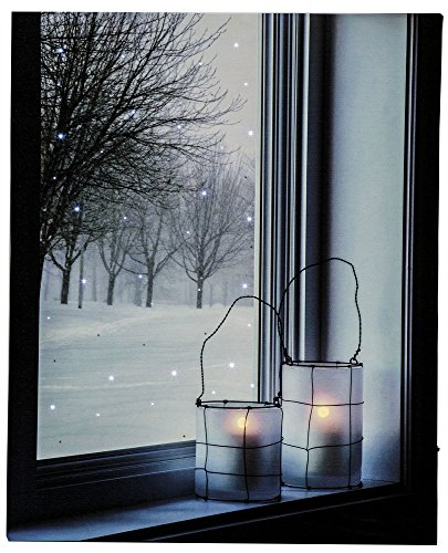 Osw Winter Lantern in Window Home Decor Led Art Canvas Light up Picture w/Timer
