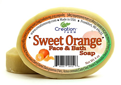 Handmade Sweet Orange Soap – Moisturizing 100% Pure Botanical Soap 8 oz ( 2-4 oz Bar Pack )from Creation Farm