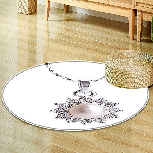 (Non Slip Round Rugspearl pendant Oriental Floor and Carpets-Round 24