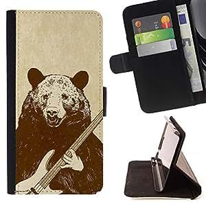 Momo Phone Case / Flip Funda de Cuero Case Cover - Roca del oso de la guitarra;;;;;;;; - Sony Xperia M4 Aqua