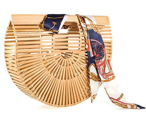 Bamboo Handbag Handmade Handle Bamboo Bag for Womens Summer Beach Tote Bag (Small bamboo#2)