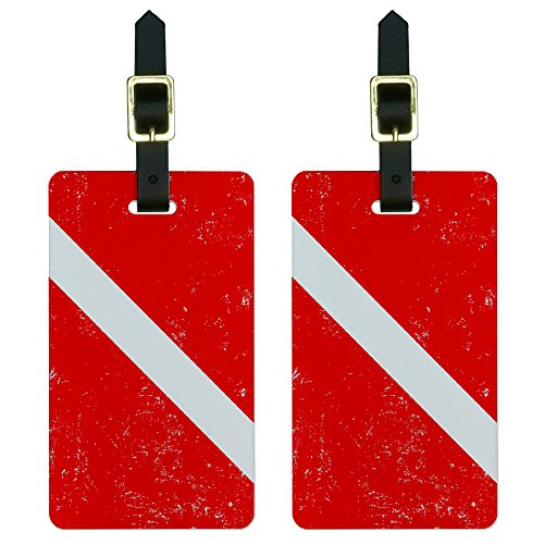 Diving Luggage Tag (Graphics & More Flag Distressed-Scuba Diver Dive Luggage Tags Suitcase Id, White)