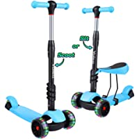 YOLEO Kick Scooters for Kids, 3 in 1 Kick Scooter with Removable Seat for Toddlers & Kids & Girls & Boys, Adjustable Height PU Flashing Wheels for Children from 2 to 8 Year-Old, Supports 110 lbs