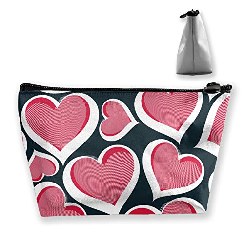 (MODREACH Make-Up Cosmetic Tote Bag Carry Case Portable Travel Makeup Case Pouch Toiletry Wash Organizer Love Heart)