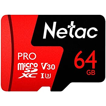 64GB Micro SD Memory Card - Netac P500 PRO V30 UHS-I U3 High Speed MicroSDXC TF Card with Adapter