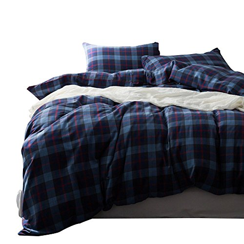 over Set Queen Cotton Luxurious Flannel Feel Bedding Set Vintage Blue Checkered Grid Bedding Cover Set Lightweight Soft Kids Adults Boys Girls Duvet Cover with 2 Pillow Shams ()