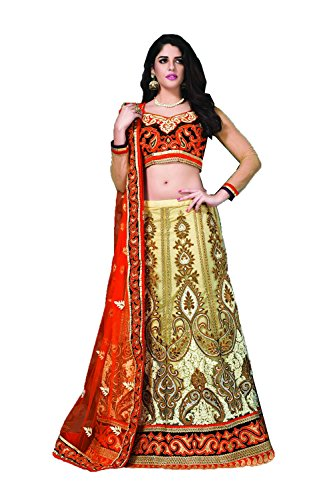 Dessa Collections Indian Designer Partywear Ethnic Traditional Cream & White Lehenga Choli by Dessa Collections