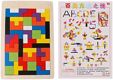 Kofun Puzzle tangram de bloques de construcción de madera Tetris Puzzle Juego Juguete Educativo para Niños Kids: Amazon.es: Juguetes y juegos