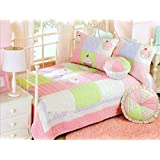 Lovely Cake Pattern Patchwork Bedspreads Quilt Set Pink For Girl 2 Pieces Twin