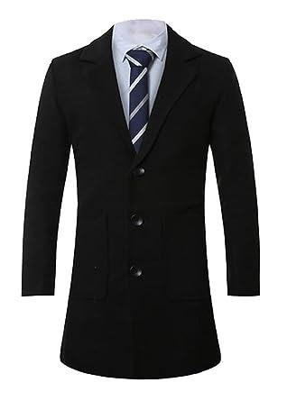 Vska Mens Trench Coat Jacket Single Breasted Trench Pea Coat at ...