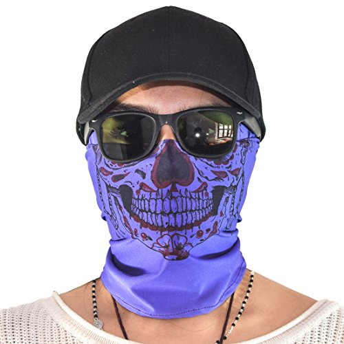 Dead Snow Zombie Costume (Santa Playa Maskies by, Fun Breathable Face Mask For Biking, Hiking, Running, Outdoors, Festivals, Partying :: Skull Frida (Deep Purple))
