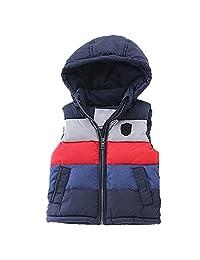 LJYH Big Boy's Winter Hooded Color Block Puffer Vest