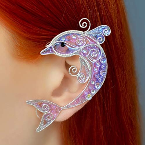 Earrings Dolphin, Ear Cuff Dolphin, Jjewelry Dolphin, Purple Jewelry Made of Film Different Shades, Cosplay Jewelry